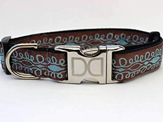 product image for Calligraphy Custom Dog Collar in Chocolate/Sky Blue (Optional Matching Leash Available) XL