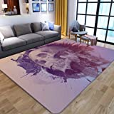 Large Area Rugs For Living Room Classroom Bedroom Indoor Non-Slip Soft Cozy Carpet Vintage Splash Ink Skull 3D Printing Anti-Slip Rectangle Doormats Home Decor,40×60Cm