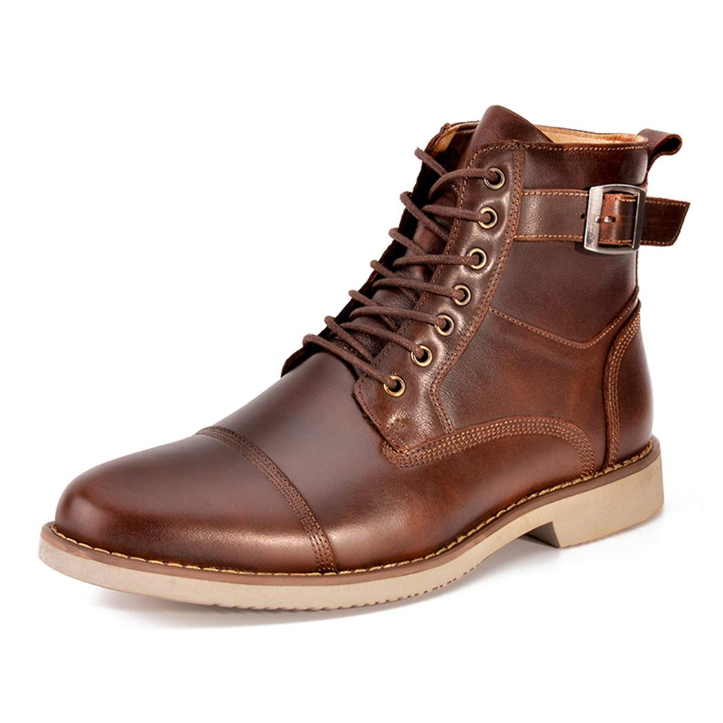 Brown LYMYY Men's shoes Men's Boot High-top Leather Ankle Boots Lace-ups Martin Boots Casual Chelsea Boots Trekking Hiking Footwear,Coffeecolor,43EU