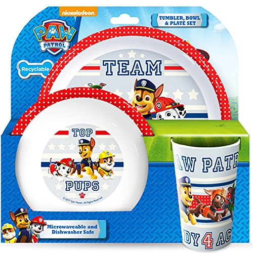 Paw Patrol Teamwork Tumbler, Bowl, Plate Set, Multi, Set Of 3 (Plate 1 1 Girl)