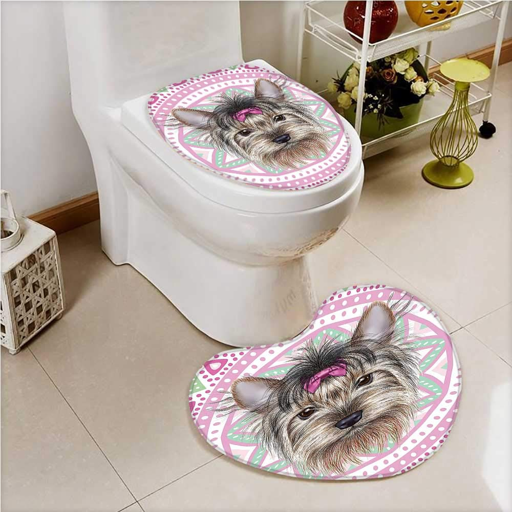 color02 W24\ color02 W24\ aolankaili Non Slip Bathroom Heart Shaped Foot pad Yorkshire Terrier Hair Dog Pet Portrait Pink Tribal Bohemian Pink Non Slip Comfortable SND Soft
