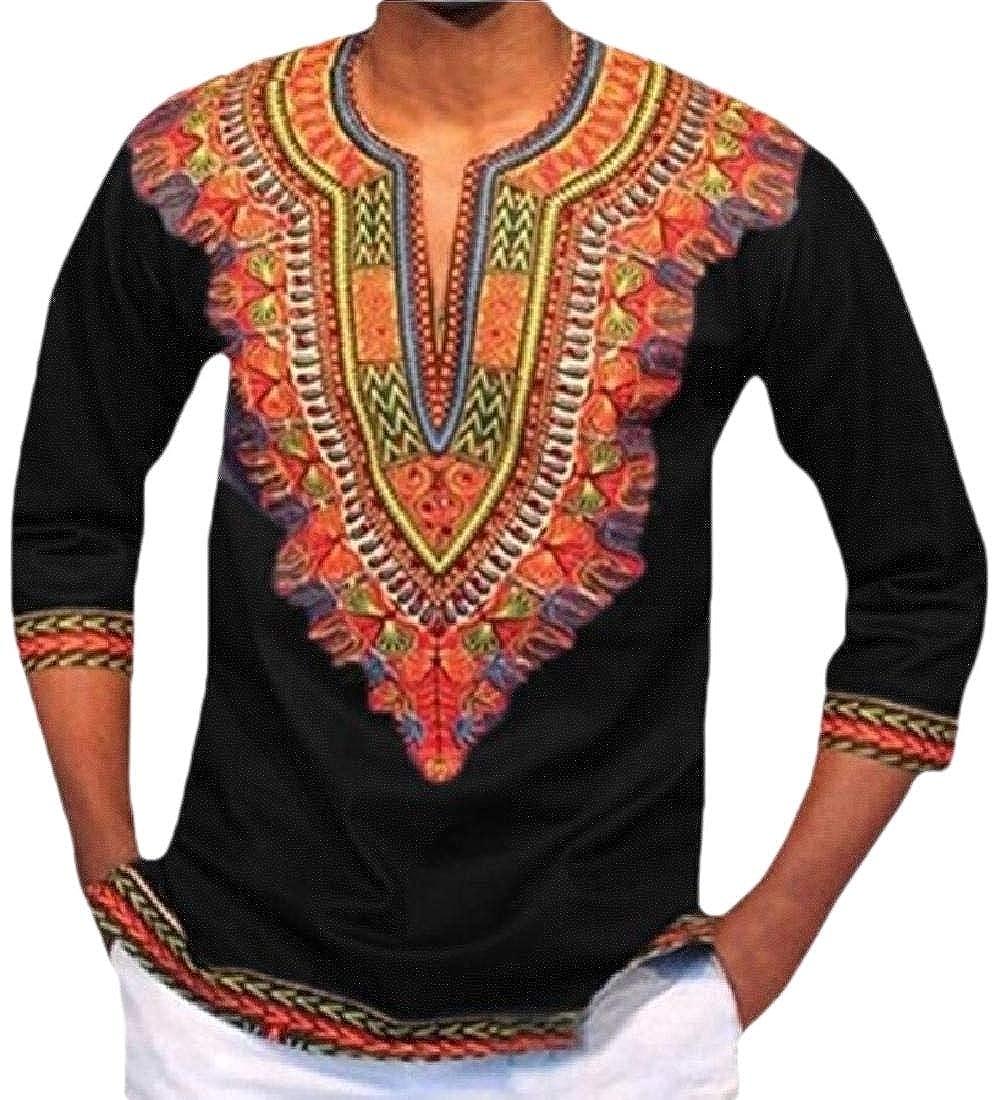 Beloved Mens African Dashiki Shirts V Neck Long Sleeve Blouses Shirt Fashion Tops