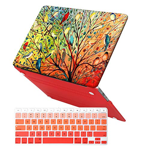iCasso MacBook Air 13 inch Rubber Coated Soft Touch Hard Shell Protective Case Cover for MacBook Air 13 Inch Model A1369/A1466 with Keyboard Cover (Birds)