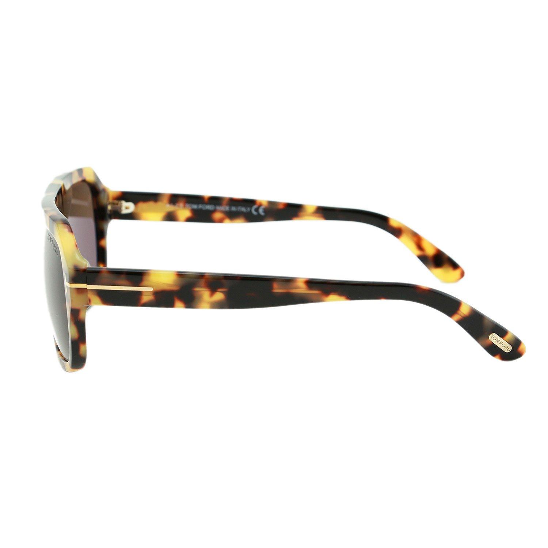 Tom Ford Omar FT0465 56J Men Tortosie Brown T Logo Acetate Rectangle Sunglasses 60mm