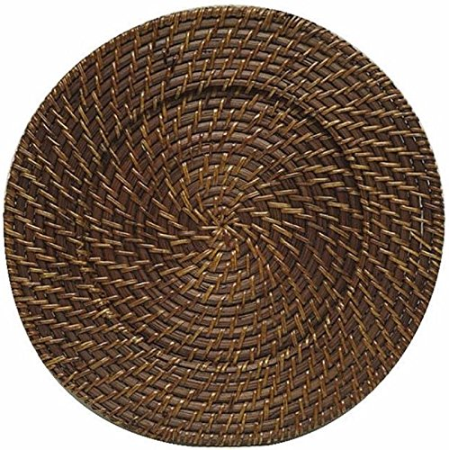Set of 4 Rattan Charger Plate Round Brown Brick Placemat Dinner Setting Tabletop (Plates Square Charger Rattan)