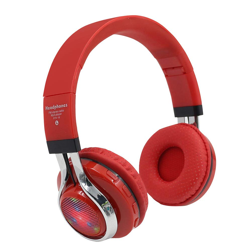 Sonmer STN-18 Wireless Bluetooth 4.1 Noise Cancelling Stereo Foldable Over Ear Headphone,for Iphone Android Smartphone Tablet PC,With Microphone FM Function (Red)