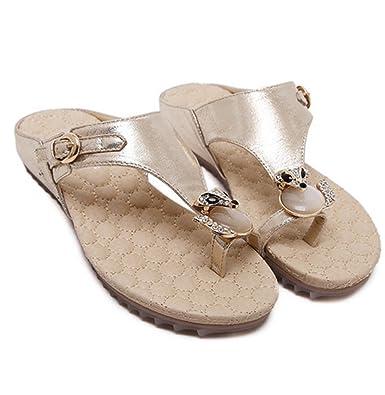 7b4d0de76c6e58 AVENBER Women s Flip Flop Sandals Crystal with Rhinestone Beaded Bohemian  Dress Toe Ring Slide Slippers Golden