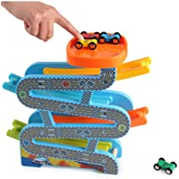 Toy Racing car Train car Tracks Wooden magnetic Educational Toys Four Racetrack viaduct Racing Set for Toddlers