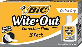 3-Pc. BIC Wite-Out Quick Dry Correction Fluid