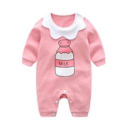 0b12a6ea44bc Amazon.com  OUBAO Baby Romper Clearance Infant Baby Girls Long ...
