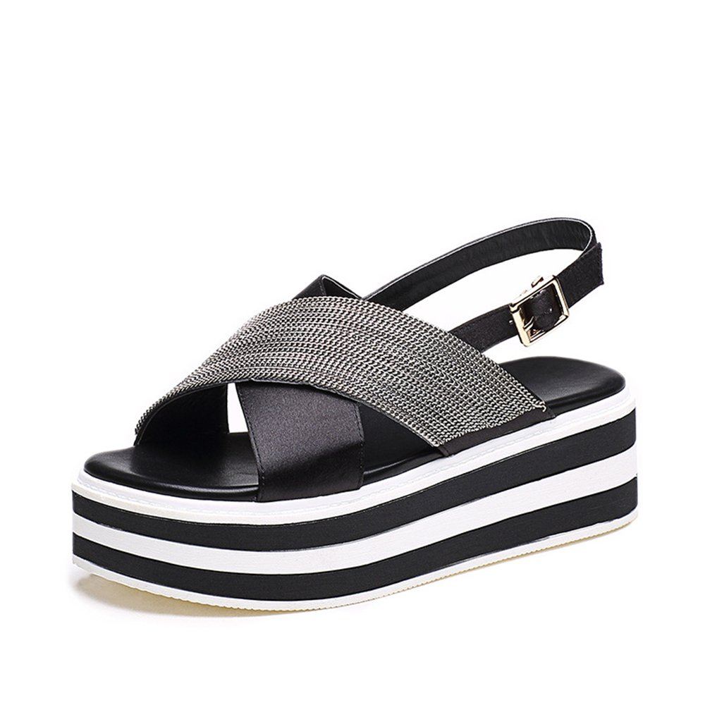 Gusha Colorblock Platform Shoes Women's Belt Sandals Casual Leakage Toe B07DHCXRBF 35/4.5 B(M) US Women|Black