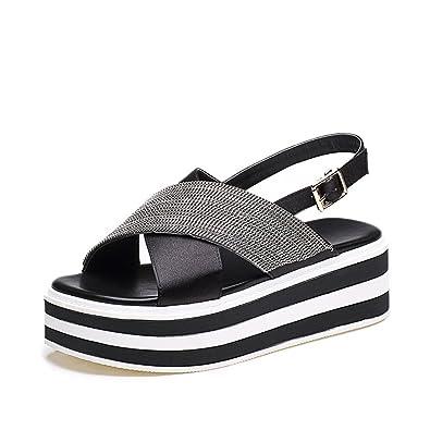 2f0490e56714e Summer Comfortable Sandals Women Platform Sandals Fashion Flip Flops Shoes  Woman Sandals (Black 35
