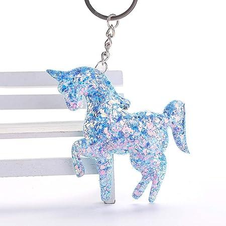Amosfun 4pcs Llavero Colgante Unicorn Rosa Azul Cristal ...