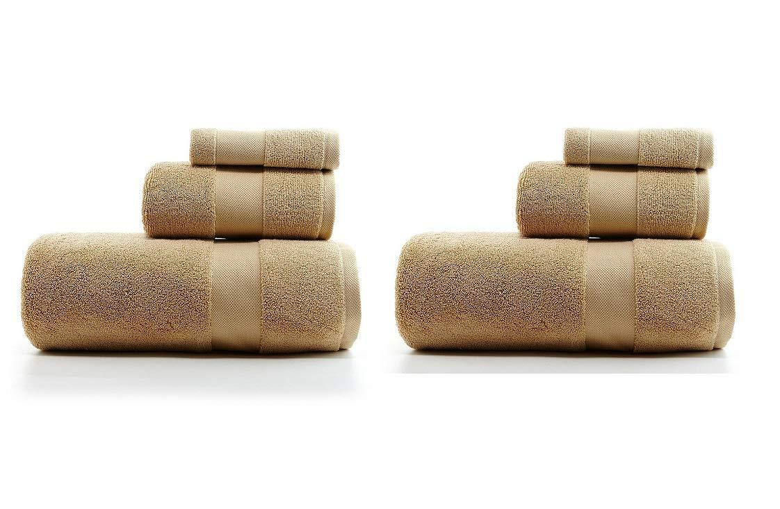 RALPH LAUREN Wescott 6 Piece Bath Towel Set - 100% Cotton, Soft Ochre , 30 x 56 inches