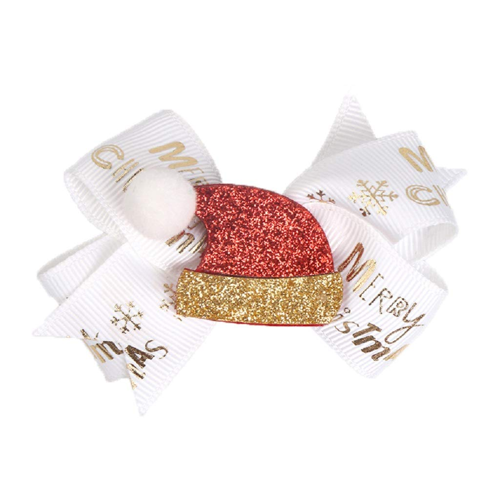 5 Pcs Chirstmas Sequins Alligator Clips Baby Girls Hair Clips Bows Barrettes Hair Accessories,Include Santa,Christmas Tree and Cap Elk Styles