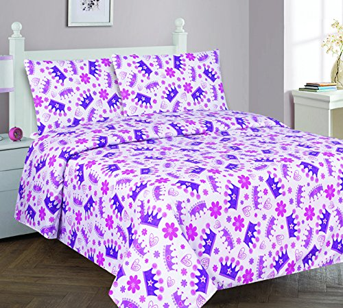 Elegant Home Multicolors Pink White Purple Beautiful Princess Crown Fun 4 Piece Printed Full Size Sheet Set with Pillowcases Flat Fitted Sheet for Girls / Kids/ Teens # Crown (Full)