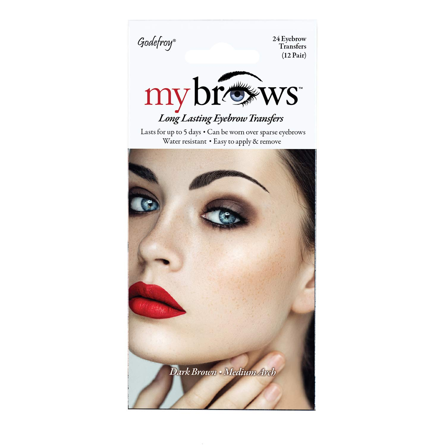 Godefroy MyBrows Long Lasting Eyebrow Transfers, Medium Arch, Dark Brown, 12-Pairs of Brows