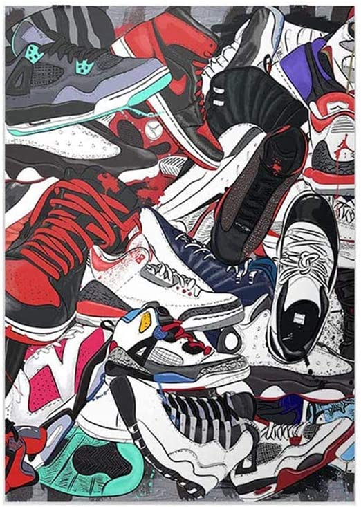 YGYT Canvas Painting Shoes Pictures Wall Art Home Decoration Prints for Sneakers Fashion Nordic Style Modular Poster For Bedroom No Frame