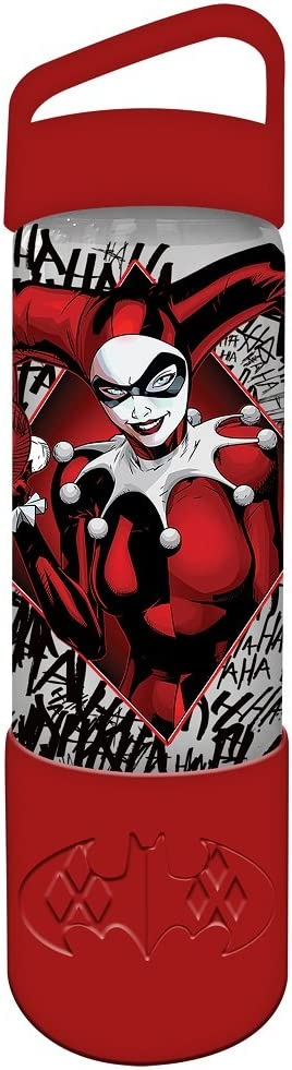 Silver Buffalo DC Comics Harley Quinn with Silicone Sleeve Glass Water Bottle, 20 oz, Multicolor
