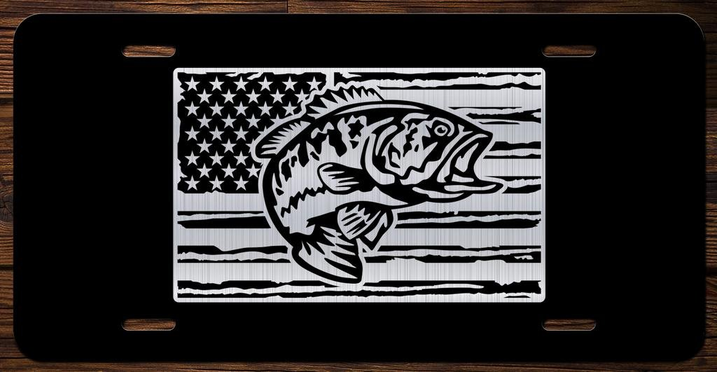 Bass With American Flag Vanity Front License Plate Tag KCE181