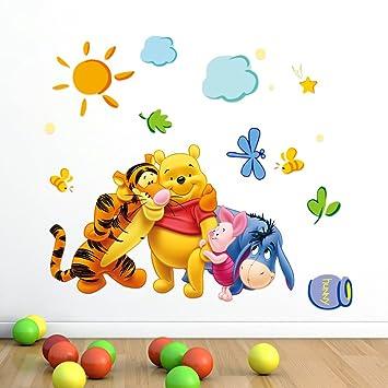 ZuoLan 1pcs Winnie Lu0027ourson Sticker Mural Amovible Réutilisable Pour  Enfants/Garçons/Filles