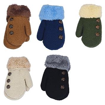 169e87dd7 Amazon.com  Shhanghe Button Design Acrylic Fibres Gloves Winter Wool ...