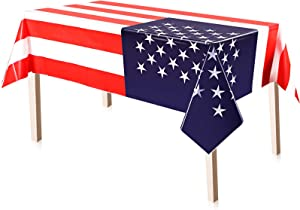 3 Pieces 4th of July American Flag Tablecloth, Plastic Stars and Stripes Patriotic Table Cover for July 4th Halloween Party Supply Decor, 51 x 71 Inch