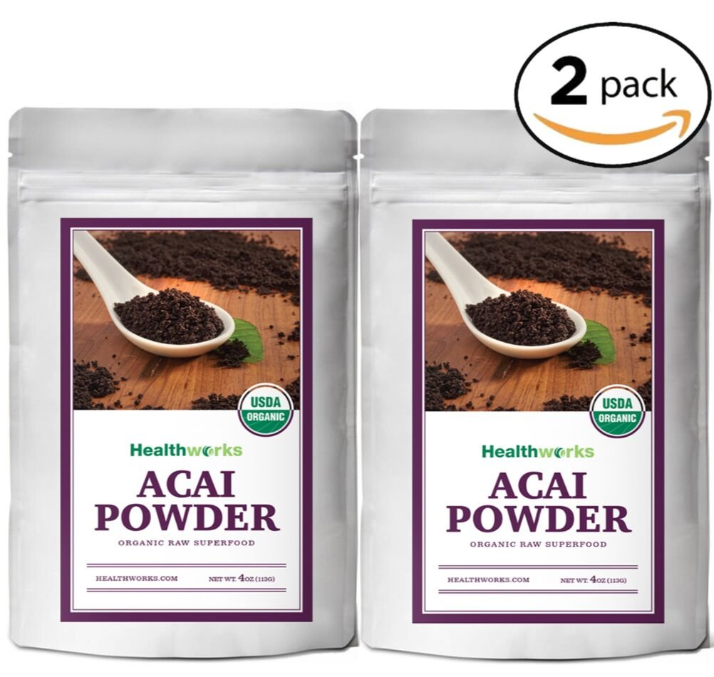 Healthworks Acai Berry Powder Freeze-Dried Raw Organic, 8 Ounce(2 4oz Pack) by Healthworks