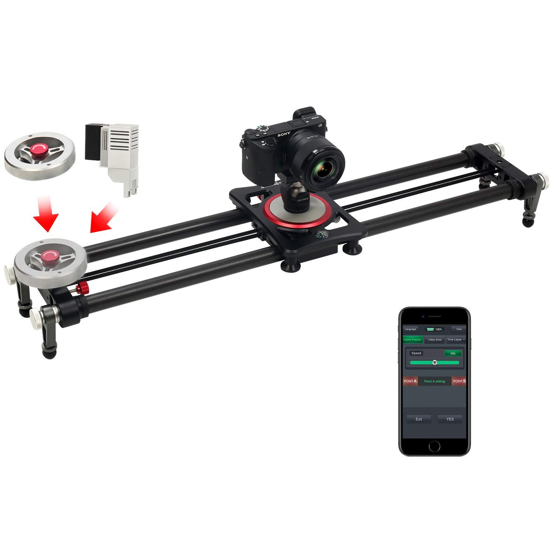 ASHANKS Motorized Camera Slider with Handle Flywheel, 31'' Bluetooth Carbon Fiber Time Lapse and Video Shot Slider for DSLR Cameras, C400 by ASHANKS