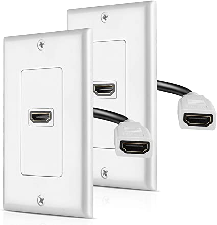 TNP HDMI Wall Plate Dual 2 Port HDMI Socket Plug Jack Outlet Decorative Face Cover Mount Panel with Built in Flexible High Speed Extension Pigtail Coupler Cable with Ethernet Support