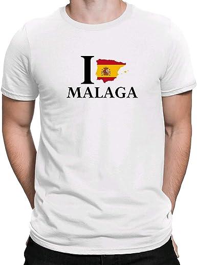 I Love Malaga España, Camiseta para Hombre Manga Corta Hombre Camisetas Cuello Redondo Moda Camisetas, Blanco: Amazon.es: Ropa y accesorios
