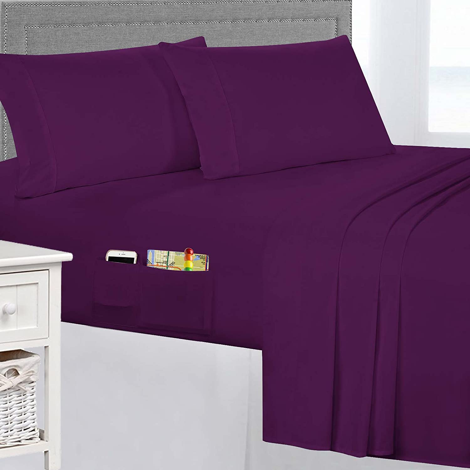 Smart Sheets Brushed Microfiber 3-Piece Bedding Set King Eggplant