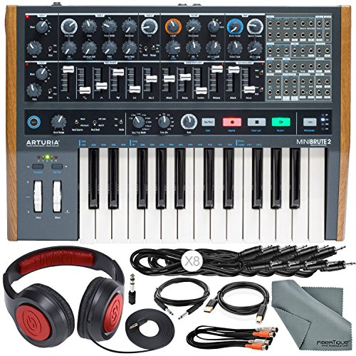 (Arturia MiniBrute 2 Semi-Modular Monophonic Analog Synthesizer with Samson Dynamic Headphones, Cables, Accessory Bundle)