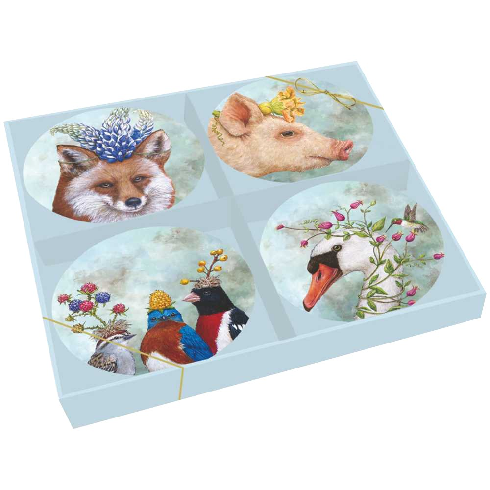Paperproducts Design Beatrice/Friends Gift Boxed New Bone China Plates (Set of 4), 7'', Multicolor