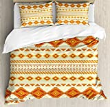 Native American Queen Size Duvet Cover Set by Ambesonne, Aztec Pattern with Vintage Colors Ethnic Mexican Indigenous Culture Print, Decorative 3 Piece Bedding Set with 2 Pillow Shams, Yellow Orange