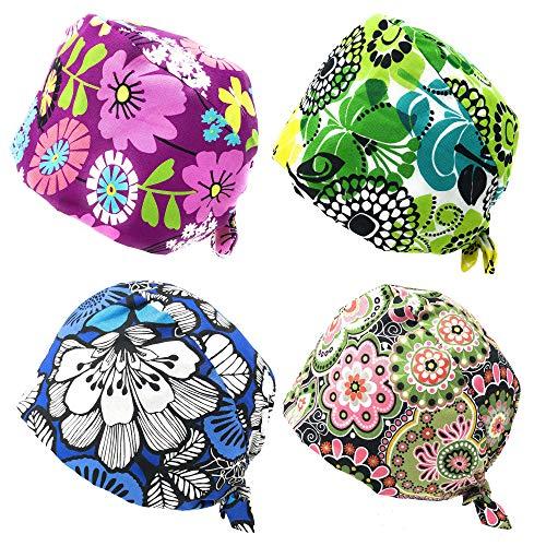 Rusoji 4pc Women Men Adjustable Sweatband Bouffant Scrub Cap Hat, One Size Fits Most (Set E)