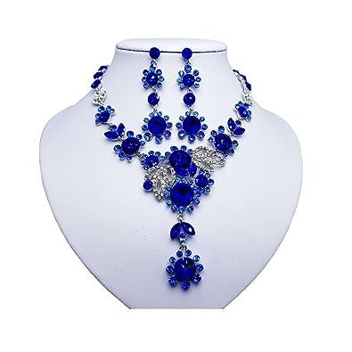 014ab033d6993e Amazon.com: Everrich Fashion Women Bridal Vintage Flower Crystal Rhinestone  Costume Bib Statement Charm Choker Necklace Earring Jewelry Set: Jewelry