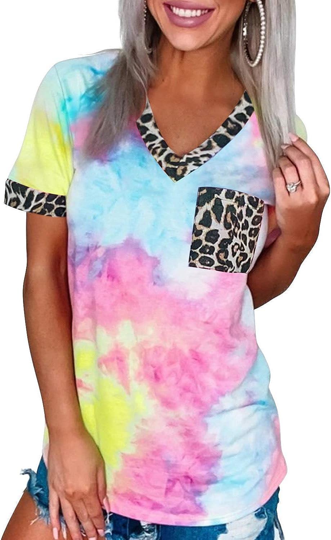 Azokoe Women Casual Tie Dye Printed T Shirt Summer Leopard Patchwork V Neck Short Sleeve Tops