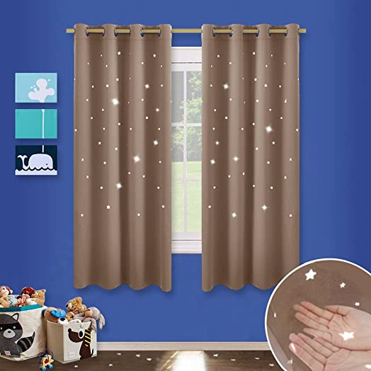 Star Cutout Eyelet Kids Curtains   PONY DANCE (W52 Inch By L63u0026quot;, Mocha
