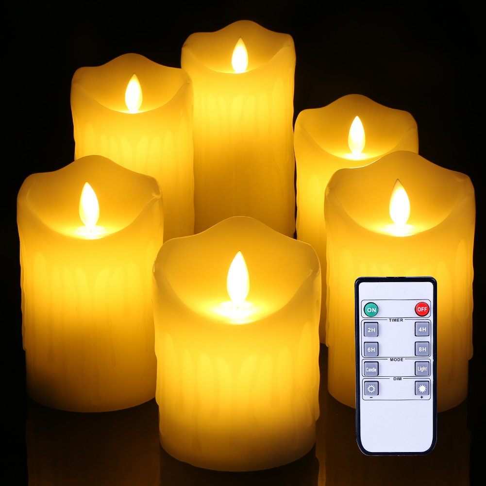 Flameless Candles Ivory Dripless Real Wax Pillars Include Realistic Dancing Flickering drippling wedding candle LED Flames and 10-key Remote Control 4''5'' 5'' 6'' 7'' 8'' Set of6