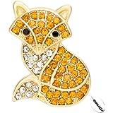 NOUMANDA Crystal Rhinestone Gold-Plated Brooch Fashion Fox Women Jewelry