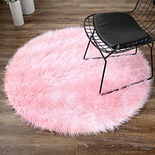 Leevan Plush Sheepskin Style Throw Rug Faux Fur Elegant