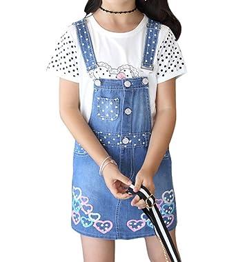9290820e84 Amazon.com  Oushiny Girls  Dots Denim Overalls   T-Shirt 2-Piece Set for  3-12  Clothing