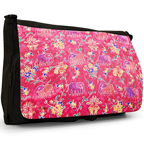 Bag Elephants Messenger Indian Large Shoulder Black Pink Laptop Canvas School 6BYqqxw