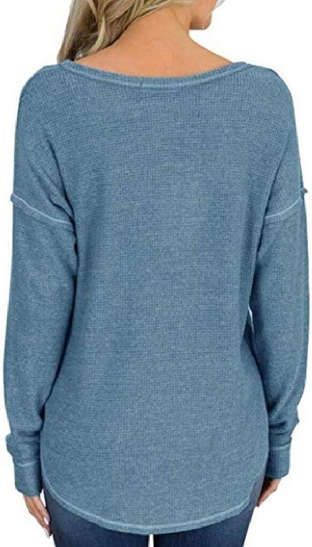 Vska Womens Tee Loose Fit Spring Long Sleeve Jersey Tops Blouse