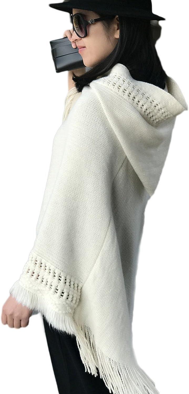 Superora Poncho Cape Tricot avec Capuche Franges El/égant Chic pour Femme