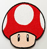 Red Mushroom Patch Embroidered Iron on Badge Applique Costume Cosplay Mario Kart / Snes / Mario World / Super Mario Brothers / Mario Allstars