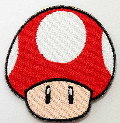 Red Mushroom Patch Embroidered Iron on Badge Applique Costume Cosplay Mario Kart / Snes / Mario World / Super Mario Brothers / Mario Allstars -