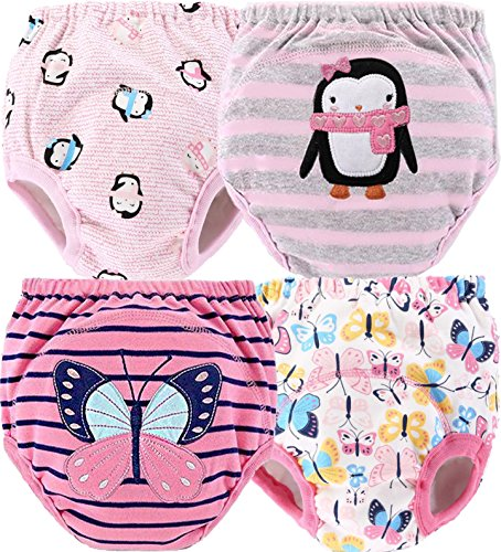 4 Pack Potty Training Pants Your Toddler Will Love! | Water-Resistant | Reusable & Machine Washable | Cute Designs For Your Baby | Soft Cotton (Girls, Large) (Plastic Training)