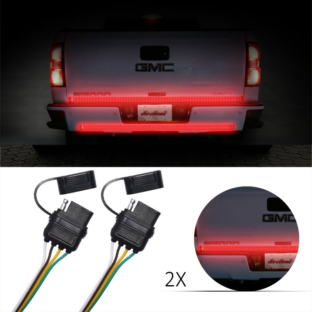 MICTUNING Universal 4 Way Flat Y-Splitter Plug /& Play Adapter Extension Harness for LED Tailgate Light Bar and Trailer Lights